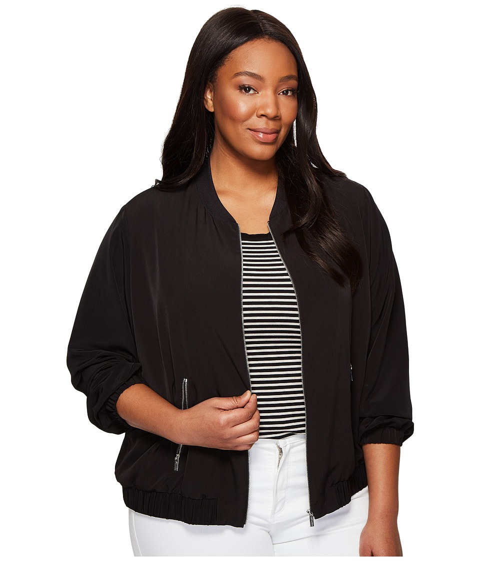 Calvin Klein Plus - Plus Size Solid Bomber Jacket (Black) Women's Jacket