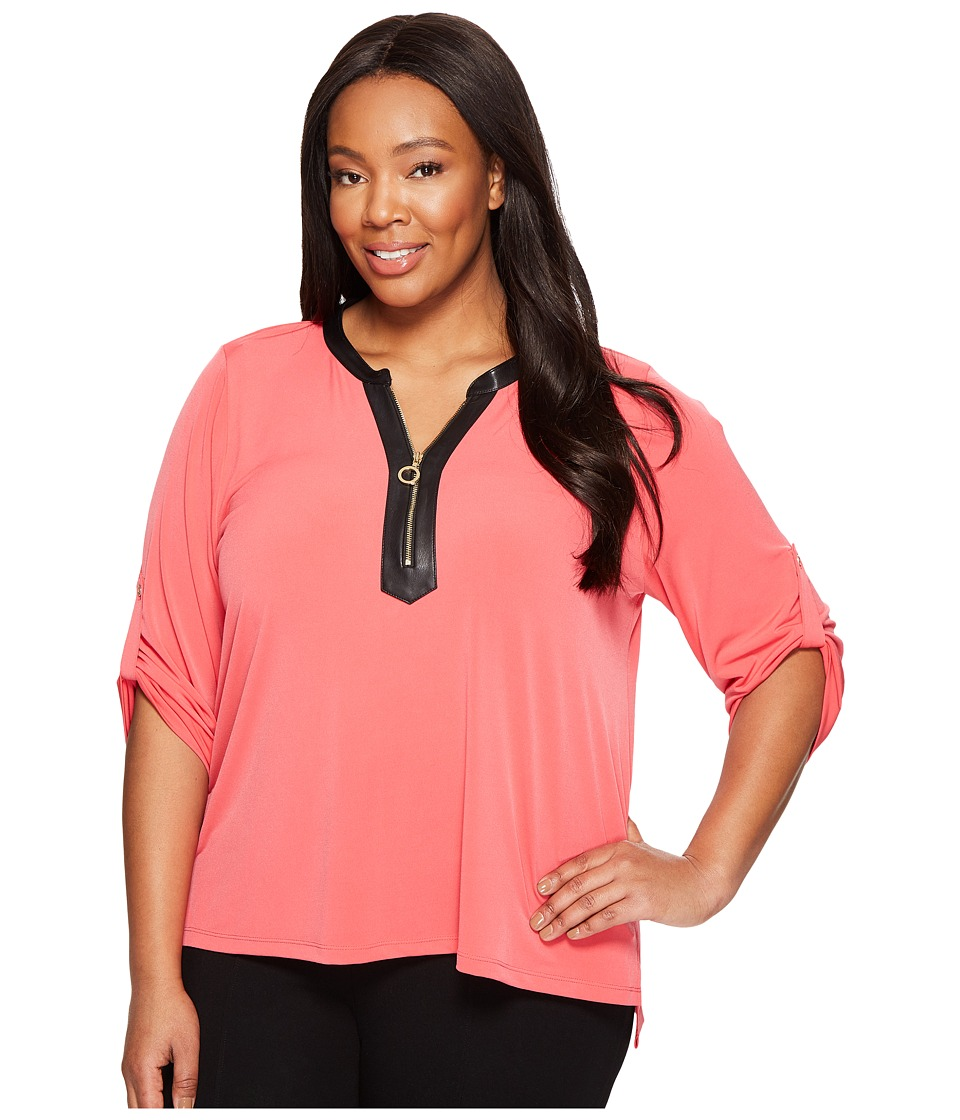 Calvin Klein Plus - Plus Size 3/4 Sleeve Top with 1/2 Zip (Watermelon) Women's Clothing