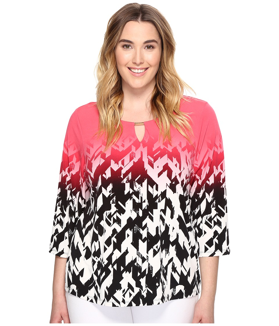 Calvin Klein Plus - Plus Size 3/4 Sleeve Printed Top with Hardware (Watermelon/Soft White) Women's Clothing