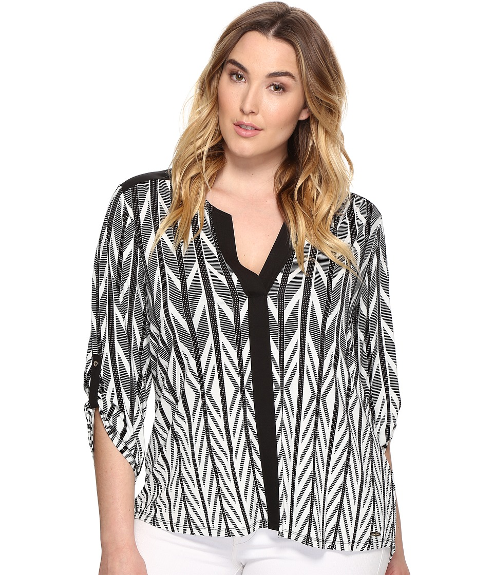 Calvin Klein Plus - Plus Size Roll Sleeve Printed Color Block Top (Black/White) Women's Clothing