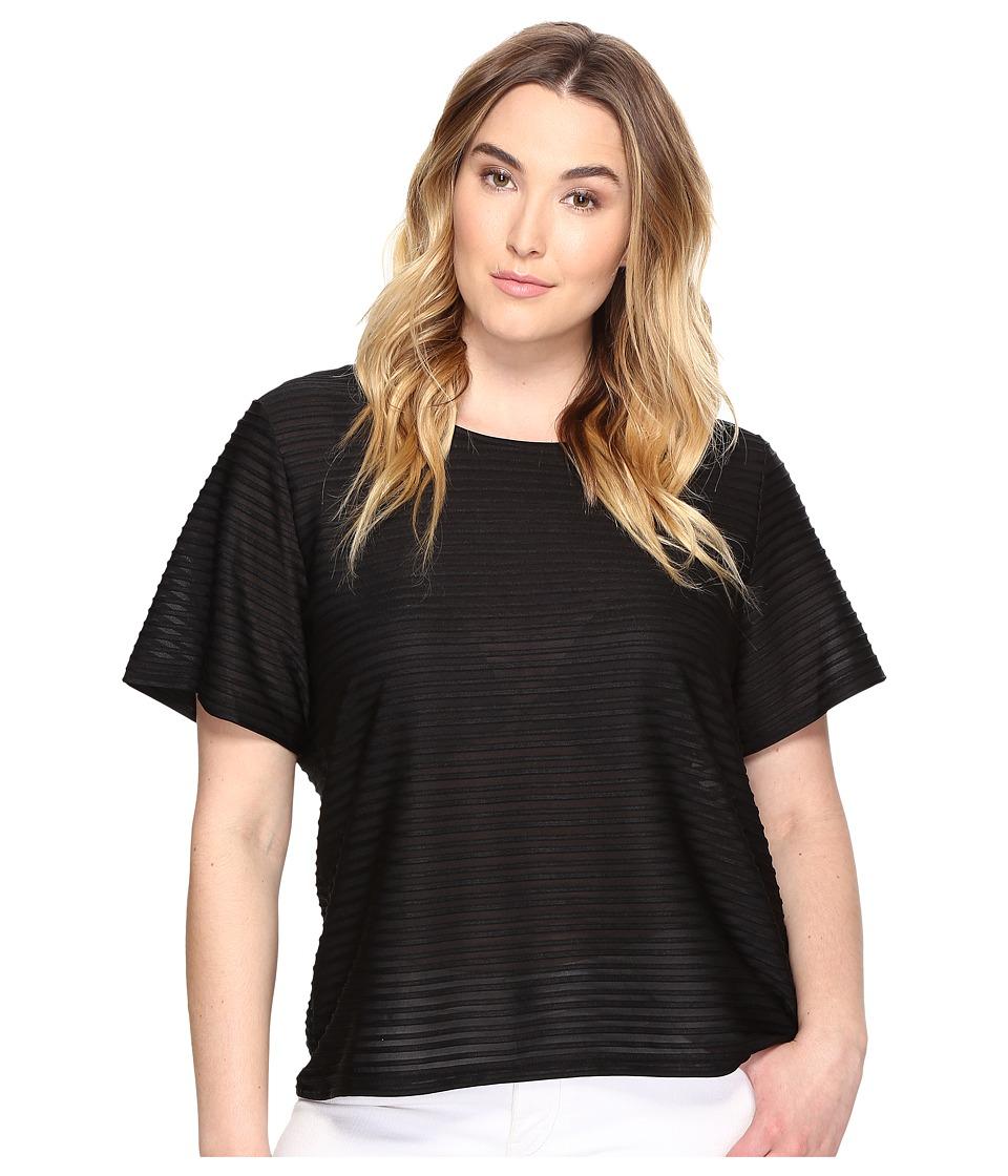 Calvin Klein Plus - Plus Size Short Sleeve Sheer Stripe Top (Black) Women's Clothing
