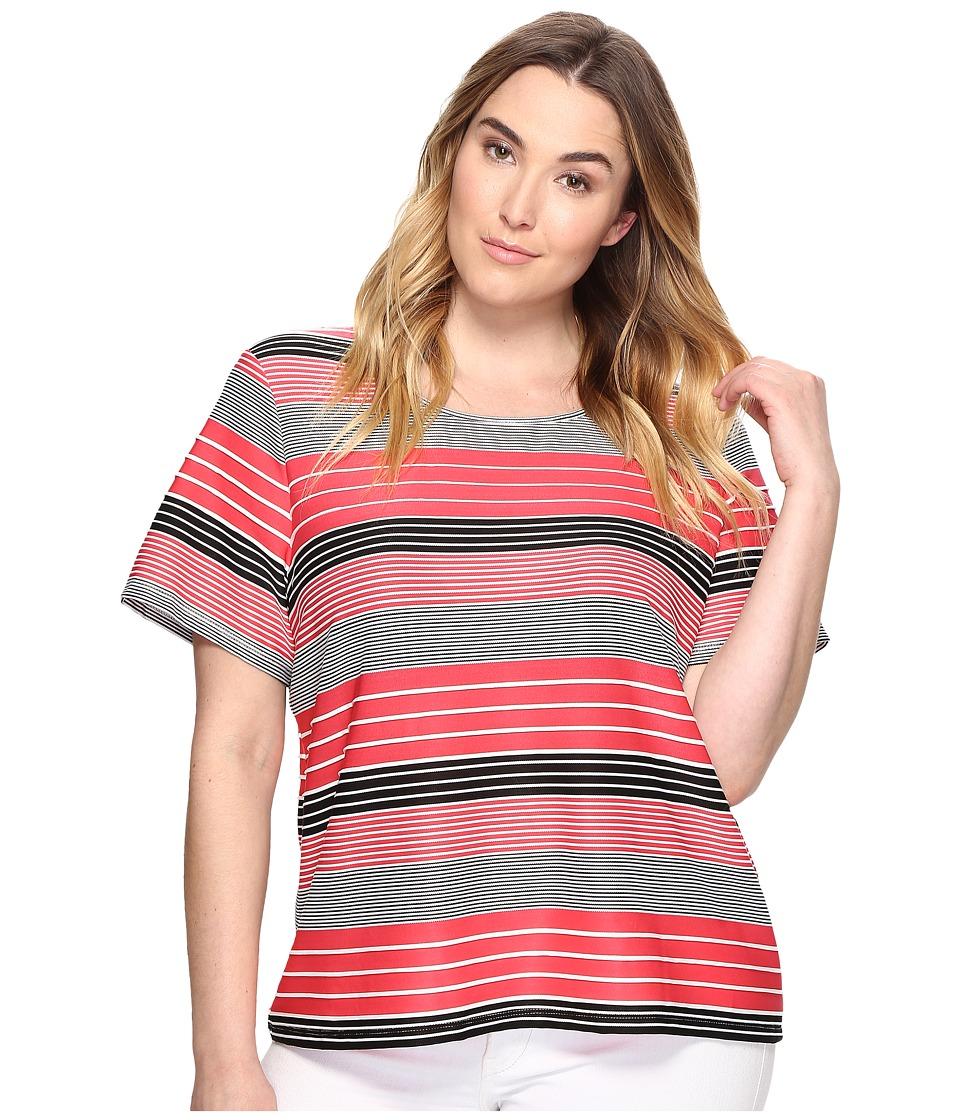 Calvin Klein Plus - Plus Size Short Sleeve Textured Stripe Top (Watermelon/Soft White Multi) Women's Clothing