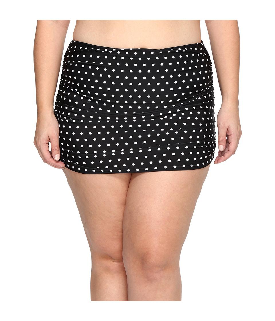 LAUREN Ralph Lauren - Plus Size Dot Ultra Hi Waist Hipster (Black/White) Women's Swimwear