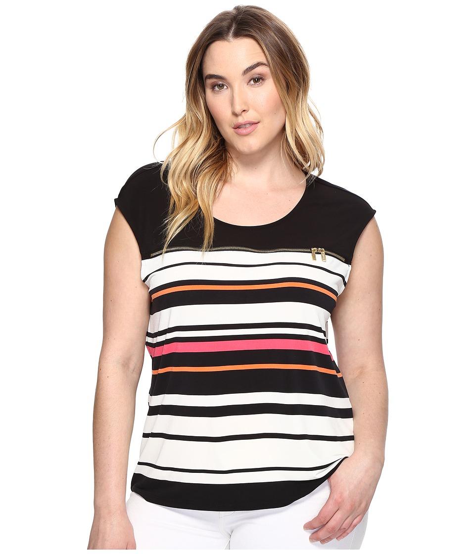 Calvin Klein Plus Plus Size Cap Sleeve Print Top with Zipper (Black/Watermelon) Women
