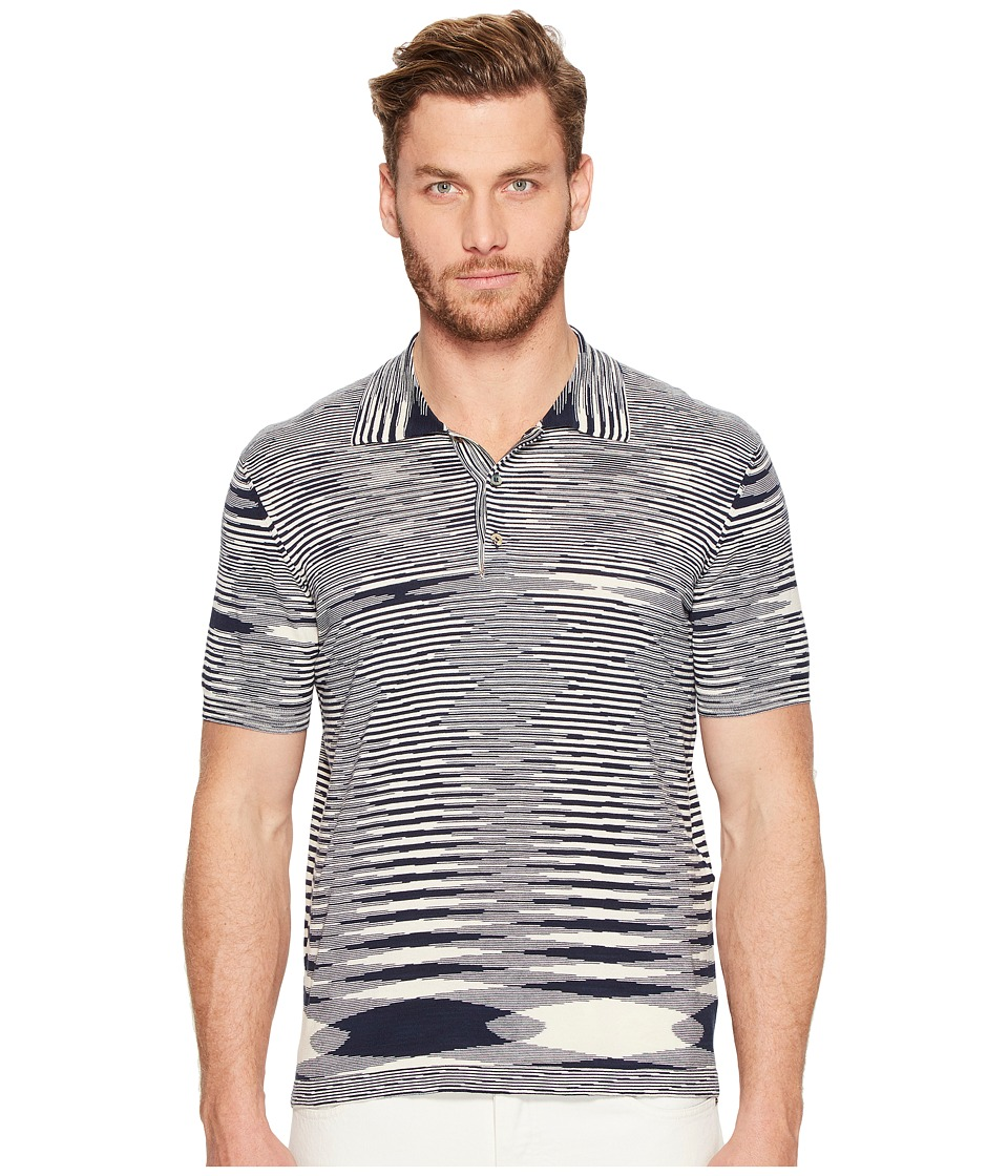 Missoni - Pima Cotton Fiammato Polo (Blue) Men's Clothing