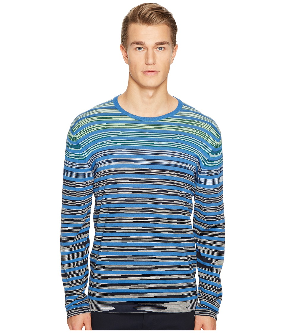 Missoni - Line Sfumata Long Sleeve Sweater (Blue) Men's Sweater