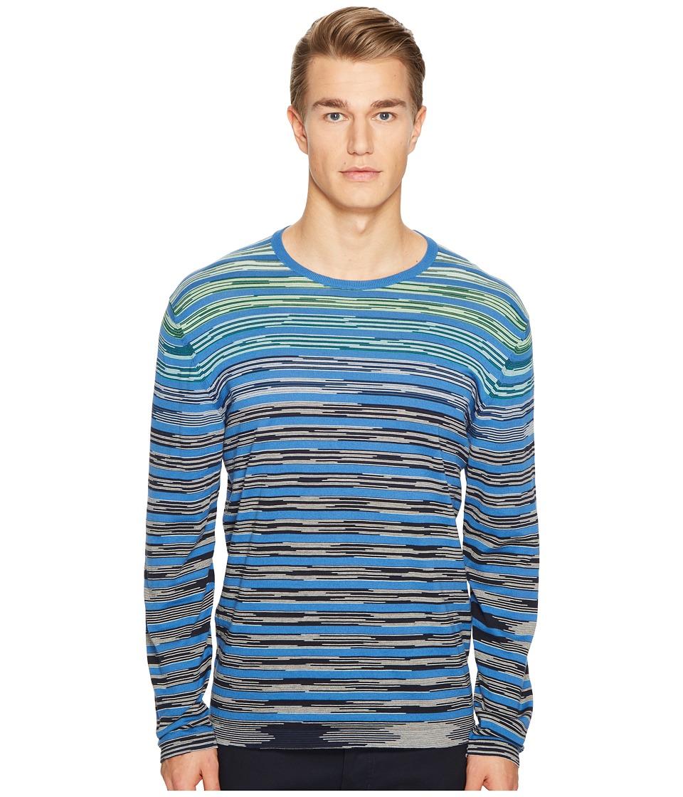 Missoni - Line Sfumata Long Sleeve Sweater (Blue) Men's Sweater