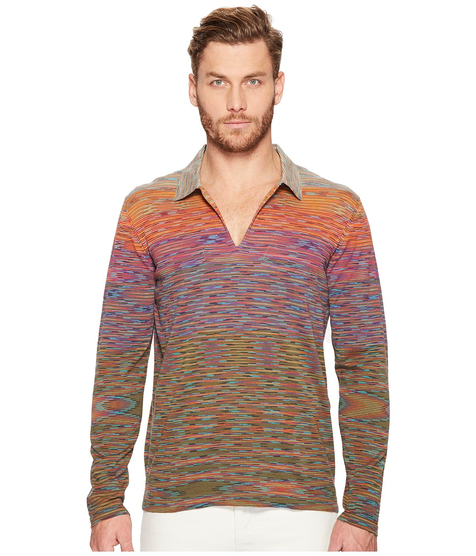 Missoni - Line Sfumata Long Sleeve Polo (Sunset) Men's Clothing
