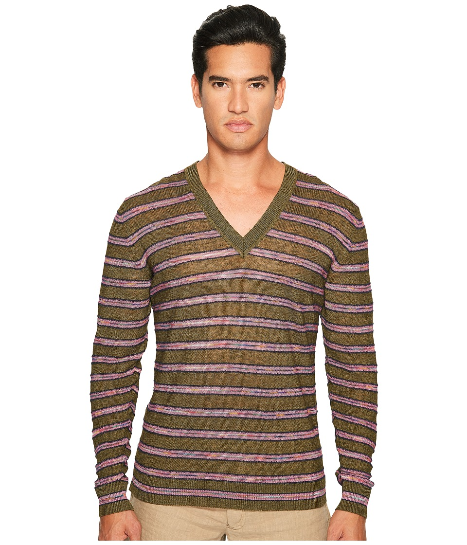 Missoni - Striped Linen Sweater (Green) Men's Sweater