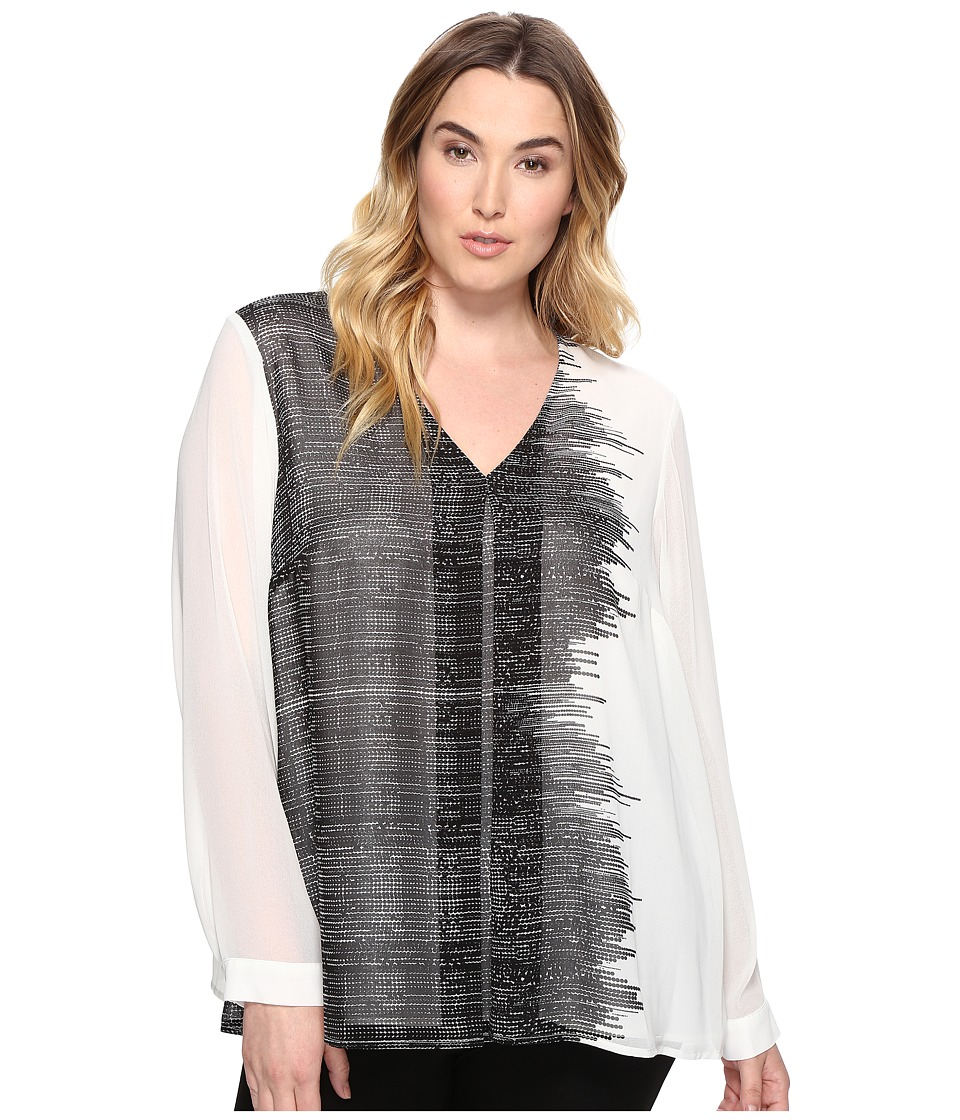 Calvin Klein Plus - Plus Size Printed Long Sleeve Blouse with Pleat (Black Stripe) Women's Clothing