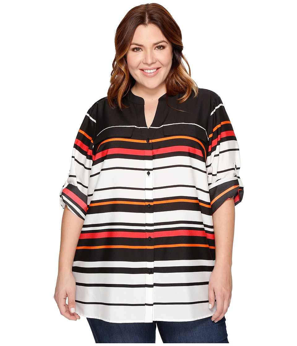 Calvin Klein Plus - Plus Size Printed Roll Sleeve (Black/Watermelon) Women's Blouse