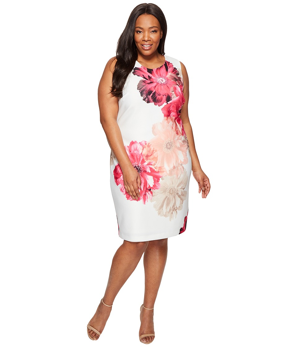 Calvin Klein Plus - Plus Size Printed Sheath Dress (Rose Multi) Women's Dress