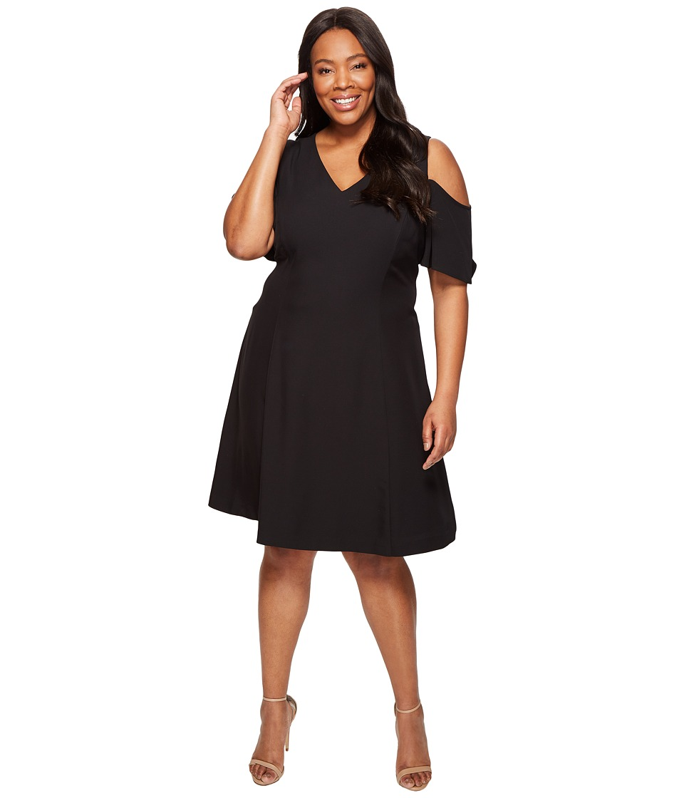 Calvin Klein Plus - Plus Size Cold Shoulder Flutter Sleeve Dress (Black) Women's Dress