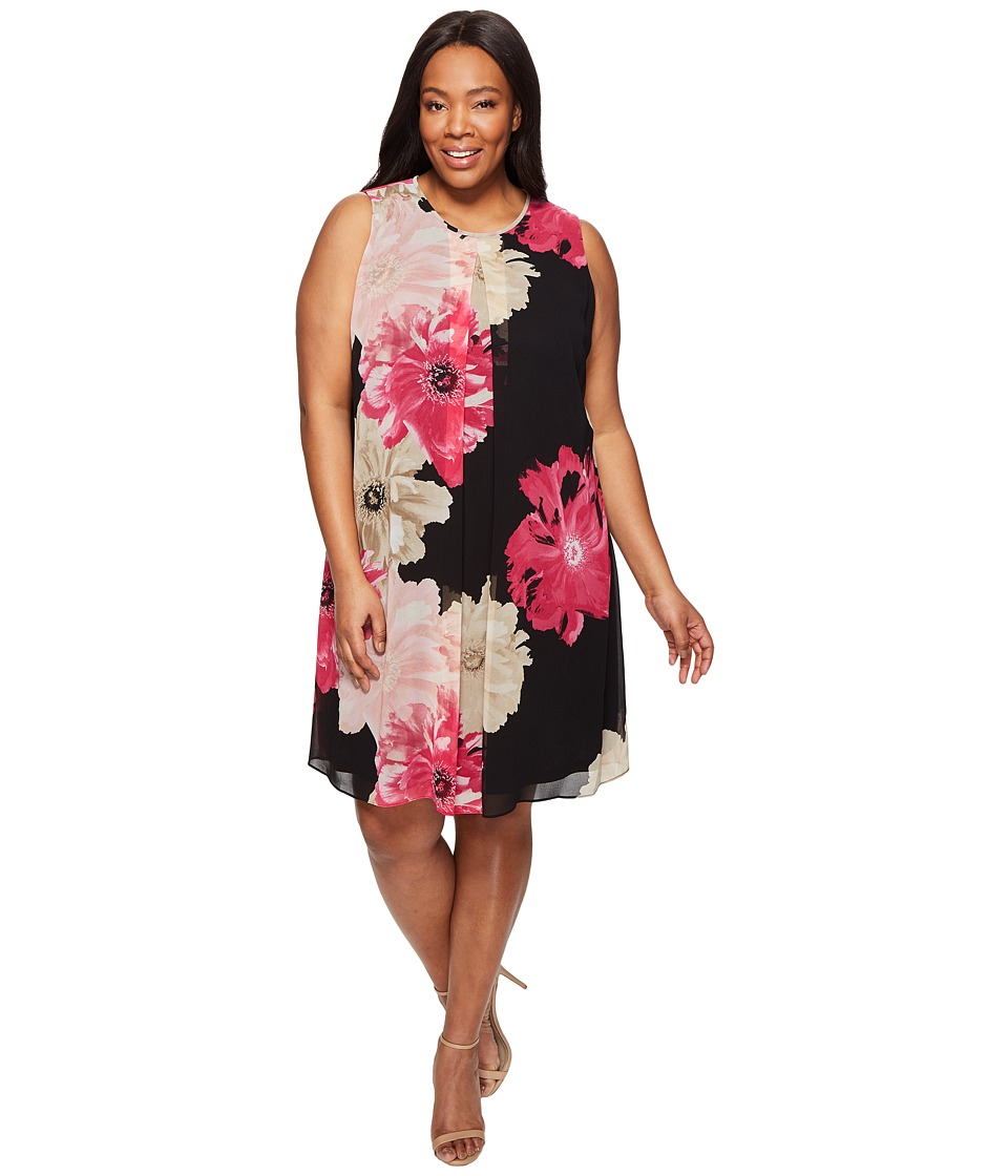 Calvin Klein Plus - Plus Size Printed Inverted Pleat Dress (Black/Rose Combo) Women's Dress