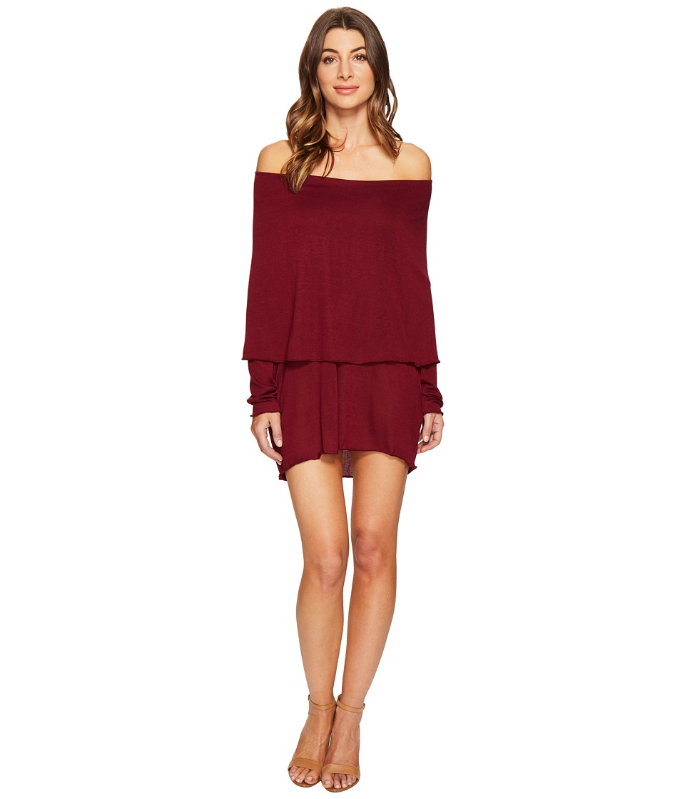 Culture Phit - Austen Off the Shoulder Fold-Over Dress (Wine) Women's Dress