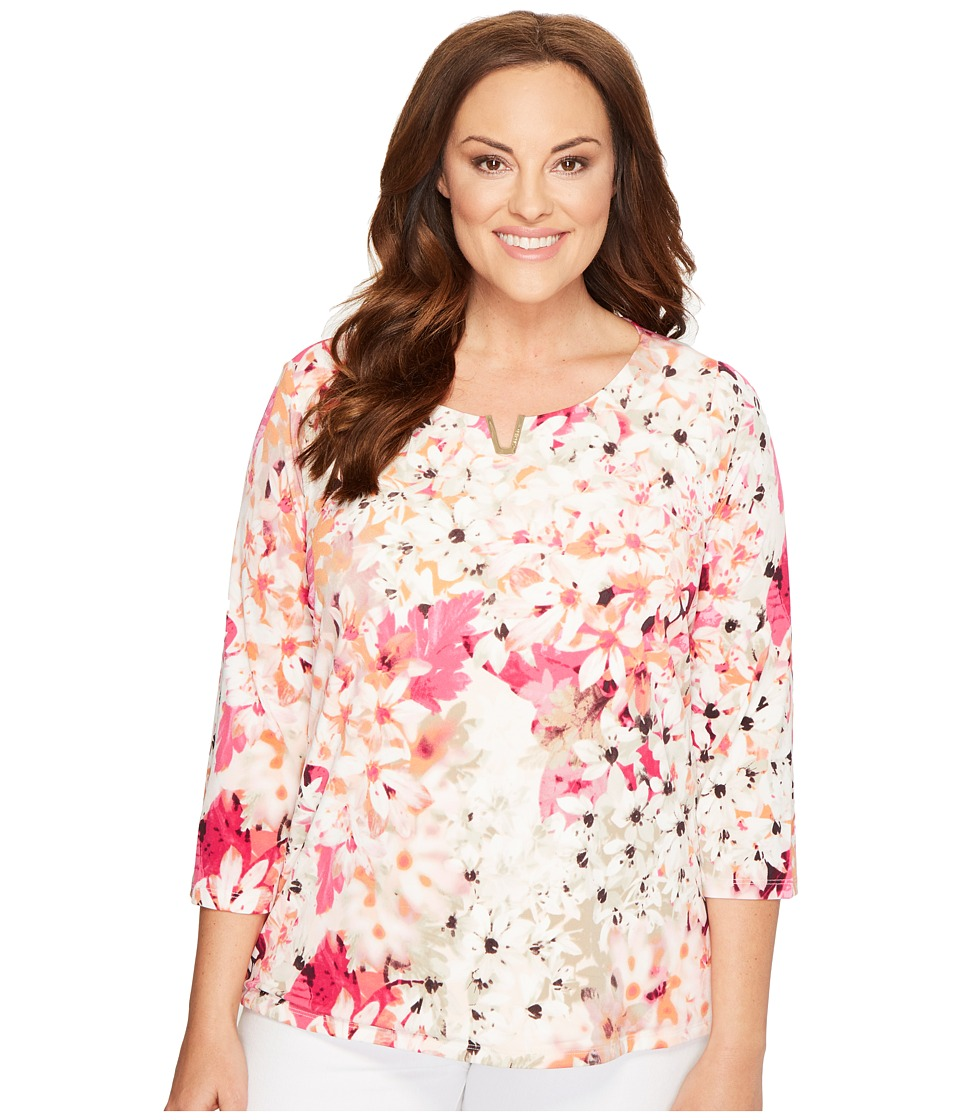 Calvin Klein Plus - Plus Size 3/4 Sleeve with Hardware (Rose Floral Print) Women's Clothing