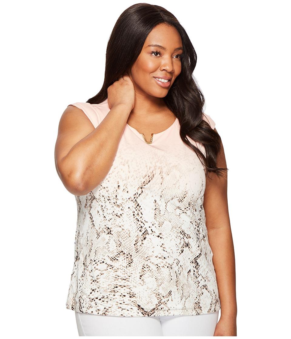 Calvin Klein Plus - Plus Size Printed Extended Shoulder with Hardware (Nectar Multi) Women's Sleeveless