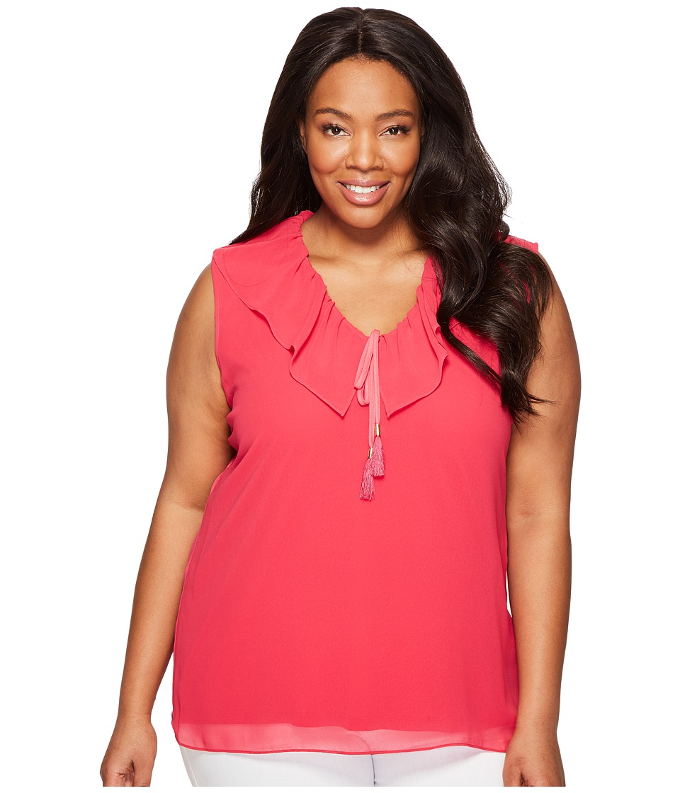 Calvin Klein Plus - Plus Size Sleeveless V-Neck Ruffle Collar Blouse (Spring Rose) Women's Sleeveless