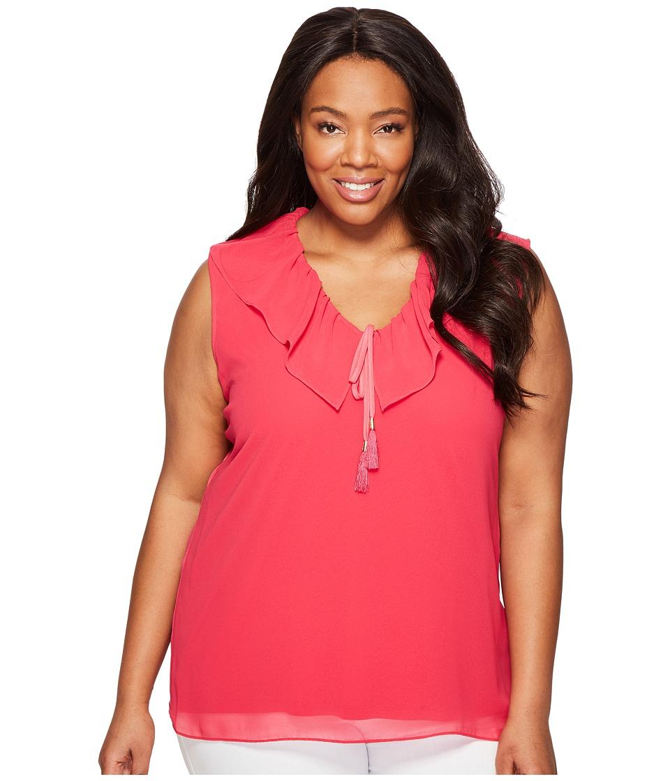 Calvin Klein Plus - Plus Size Sleeveless V-Neck Ruffle Collar Blouse (Spring Rose) Women's Sleeveless