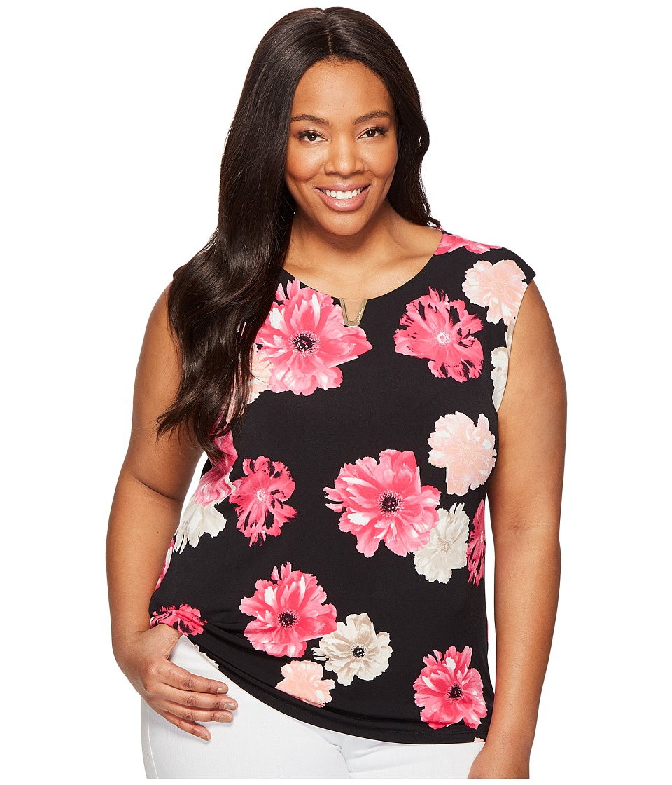 Calvin Klein Plus Plus Size Printed Extended Shoulder with Hardware (Black/Rose) Women