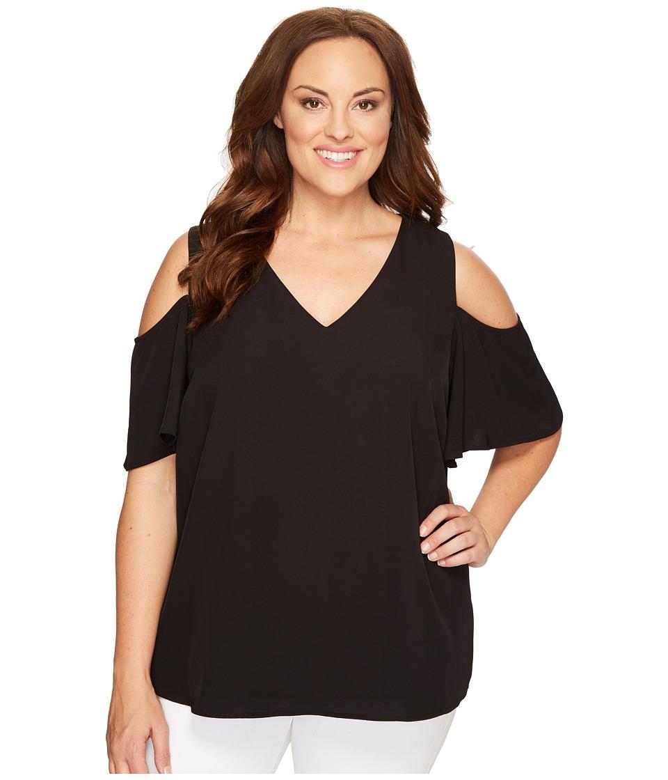 Calvin Klein Plus - Plus Size V-Neck Cold Shoulder Flutter Sleeve Top (Black) Women's Clothing