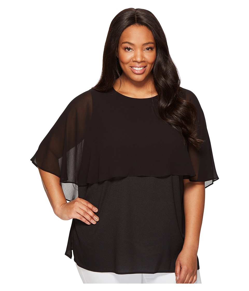 Calvin Klein Plus - Plus Size Short Sleeve Ruffle Top (Black) Women's Clothing