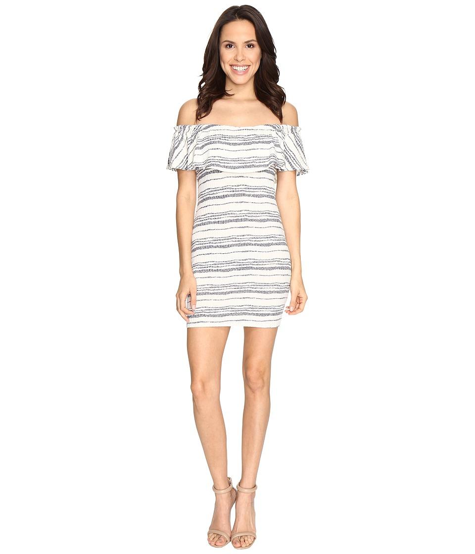Brigitte Bailey - Jamie Off Shoulder Ruffle Bodycon Dress (White/Navy) Women's Dress