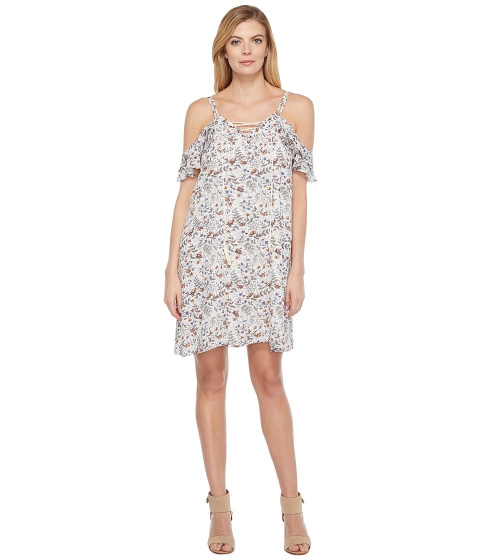 Brigitte Bailey - Justine Minifloral Print Flutter Sleeve Lace-Up Dress (Blue Multi) Women's Dress