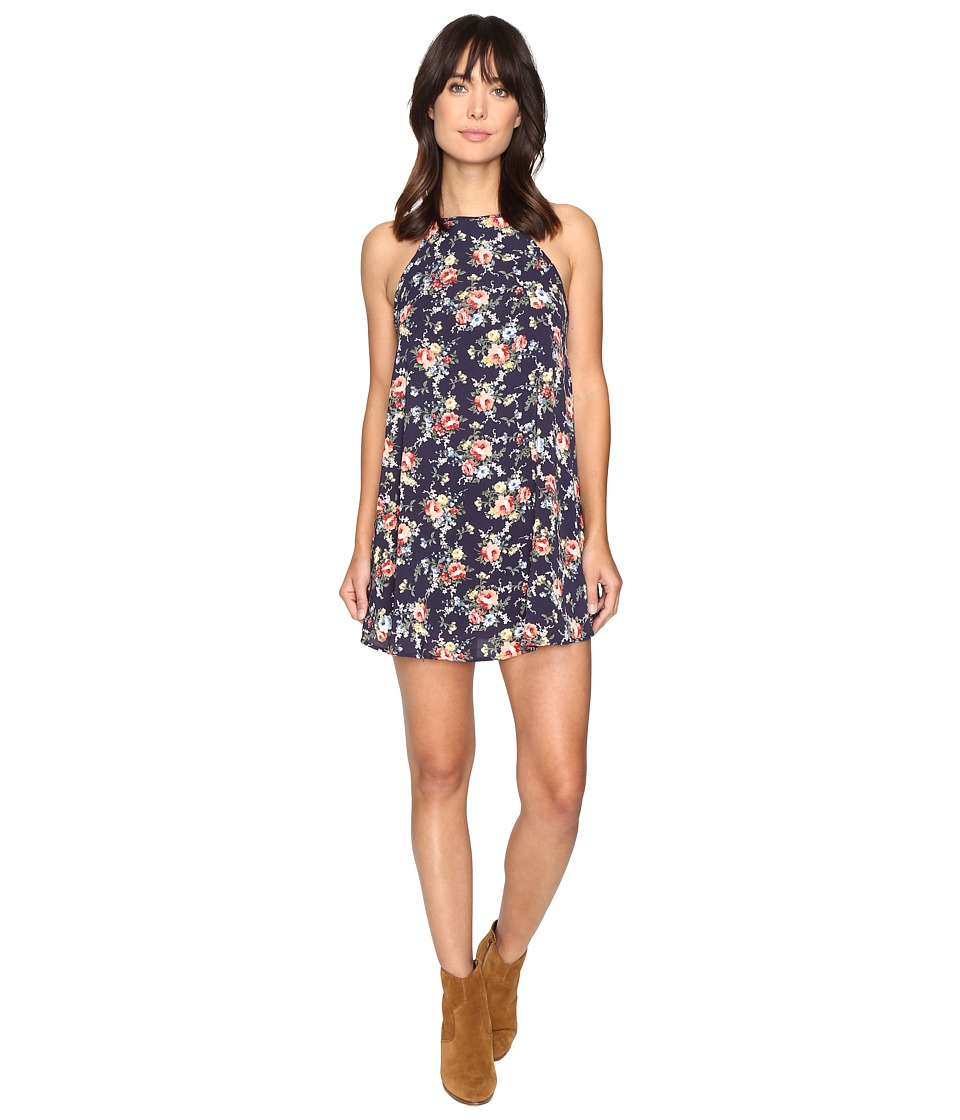 Brigitte Bailey - Spring Bouquets Printed Sleeveless Swing Dress (Navy) Women's Dress
