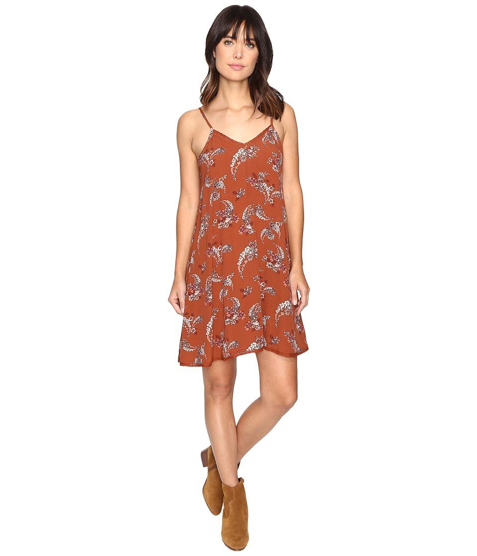 Brigitte Bailey - Clementine Paisley Floral Print Spaghetti Strap Dress (Rust) Women's Dress