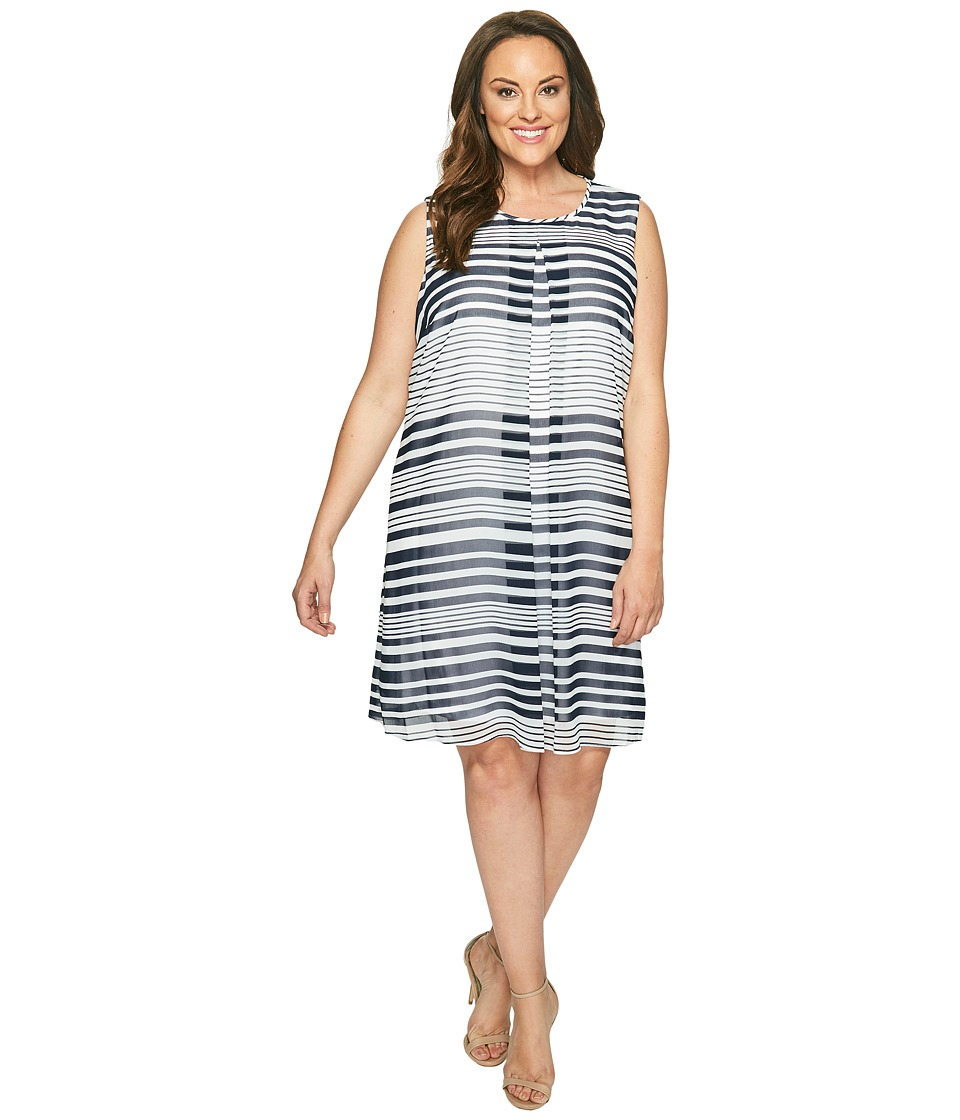 Calvin Klein Plus - Plus Size Printed Inverted Pleat Dress (Twilight/Soft White Multi) Women's Dress