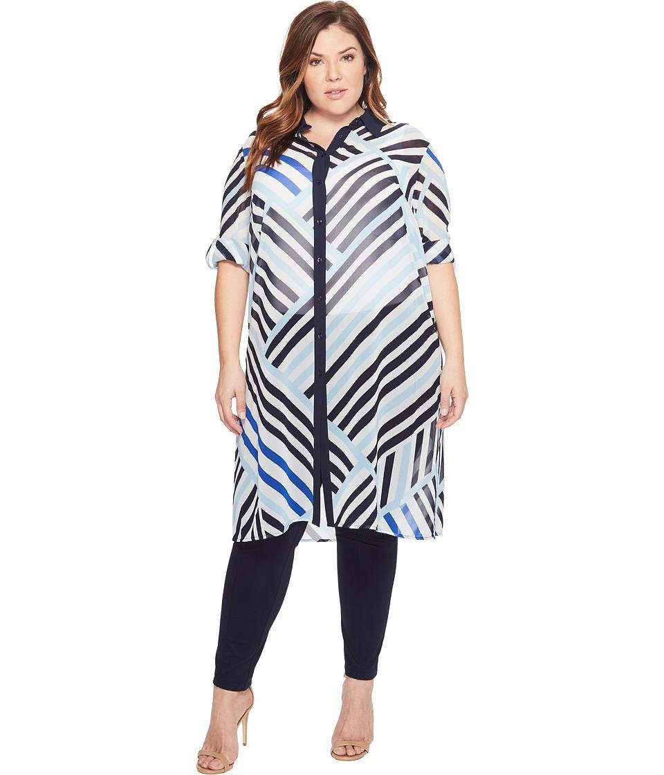 Calvin Klein Plus - Plus Size Long Printed Tunic (White/Iceburg) Women's Blouse