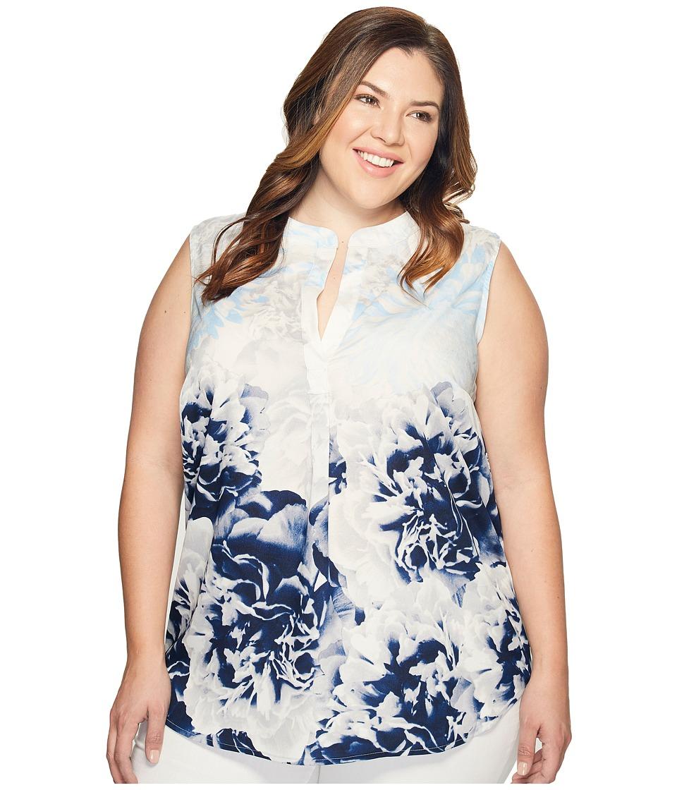 Calvin Klein Plus - Plus Size Sleeveless Printed Top with Collar (Twilight/Light Grey) Women's Sleeveless