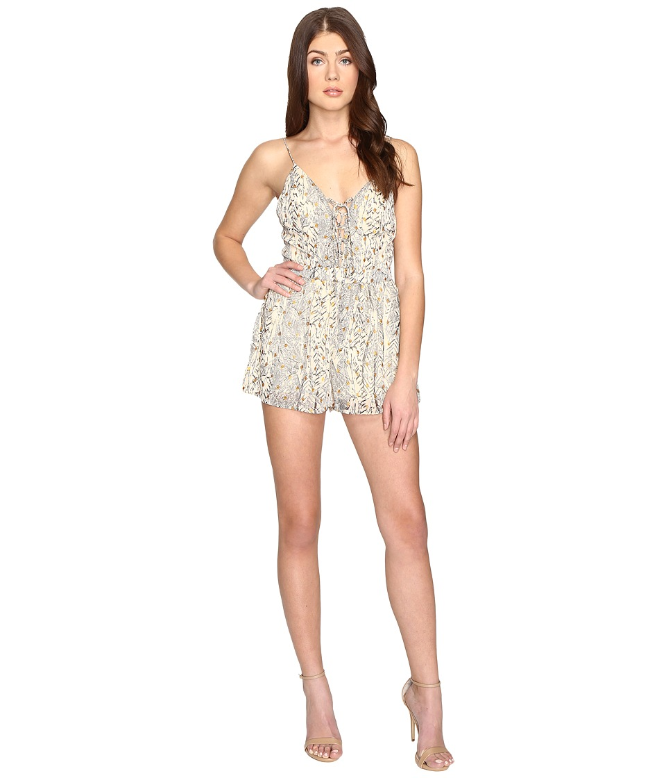 Brigitte Bailey - Luna Child Foil Print Lace-Up Romper (Gold) Women's Jumpsuit & Rompers One Piece