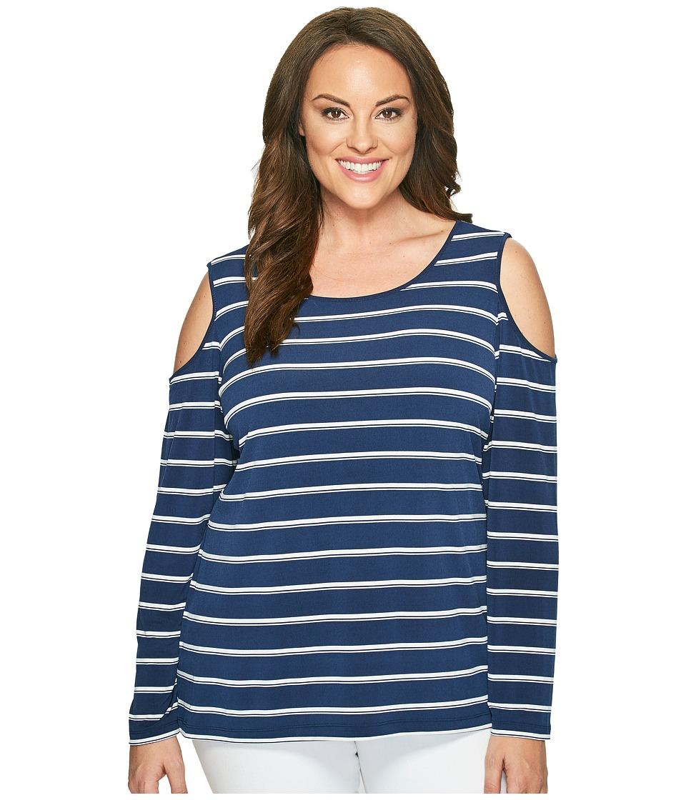 Calvin Klein Plus - Plus Size Cold Shoulder Stripe Top (Twilight/Soft White Combo) Women's Clothing