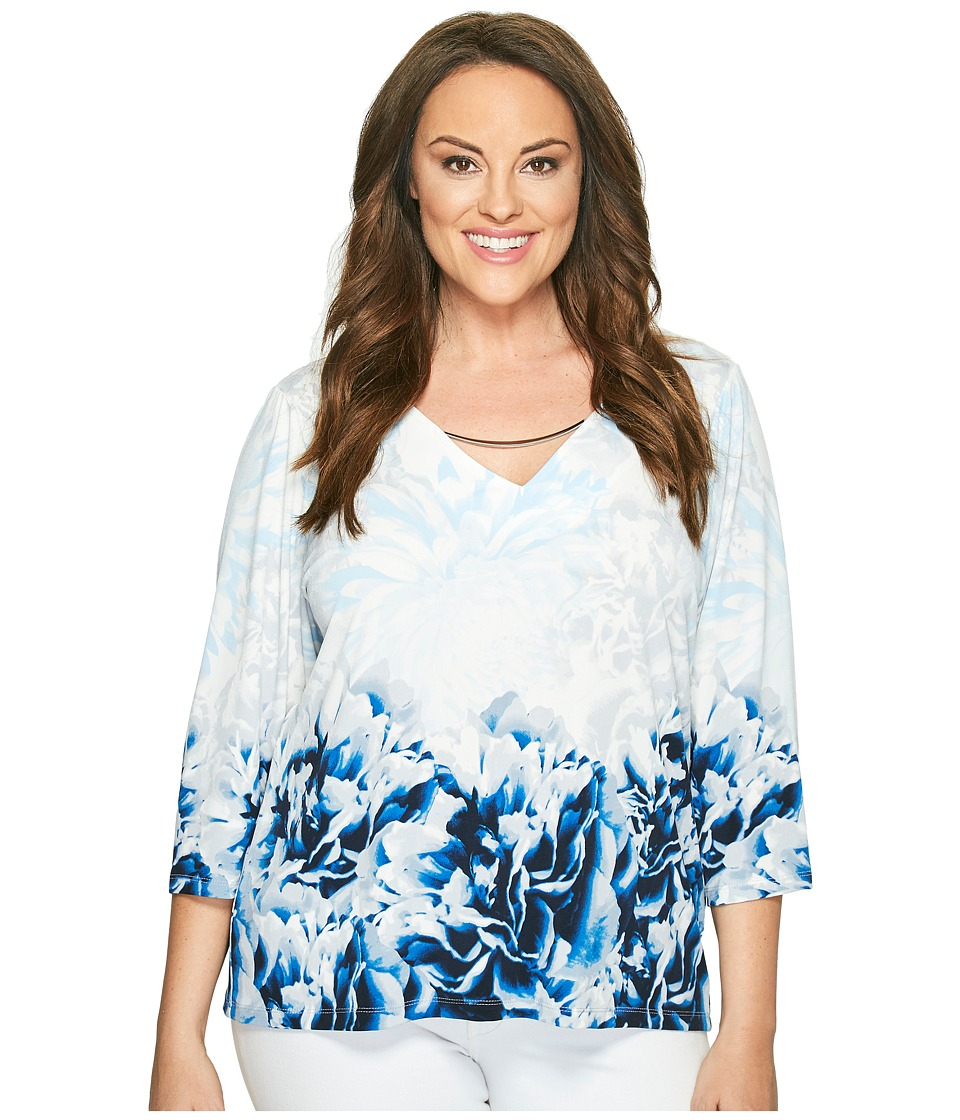 Calvin Klein Plus - Plus Size Printed 3/4 Sleeve with Hardware (Twilight/Light Grey) Women's Clothing