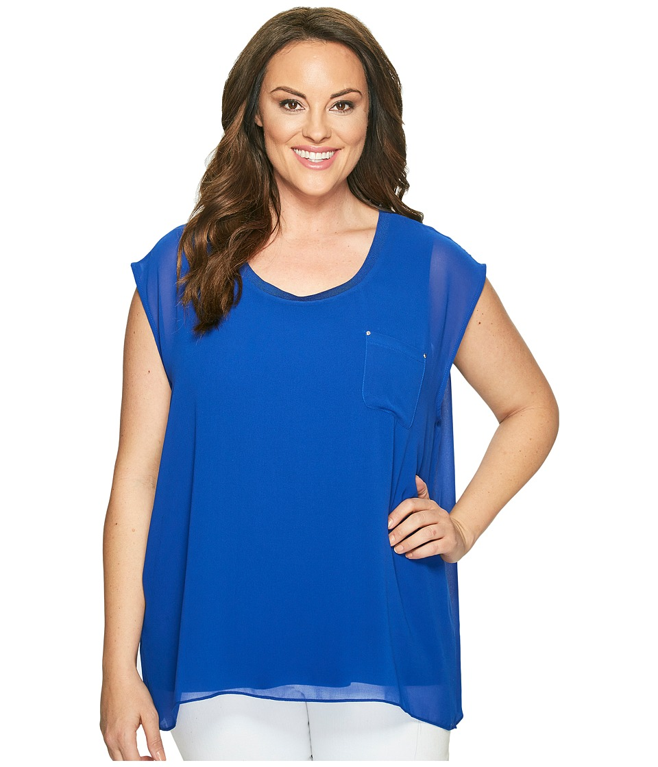 Calvin Klein Plus - Plus Size Short Sleeve Top with Chiffon Overlay (Regatta) Women's Clothing