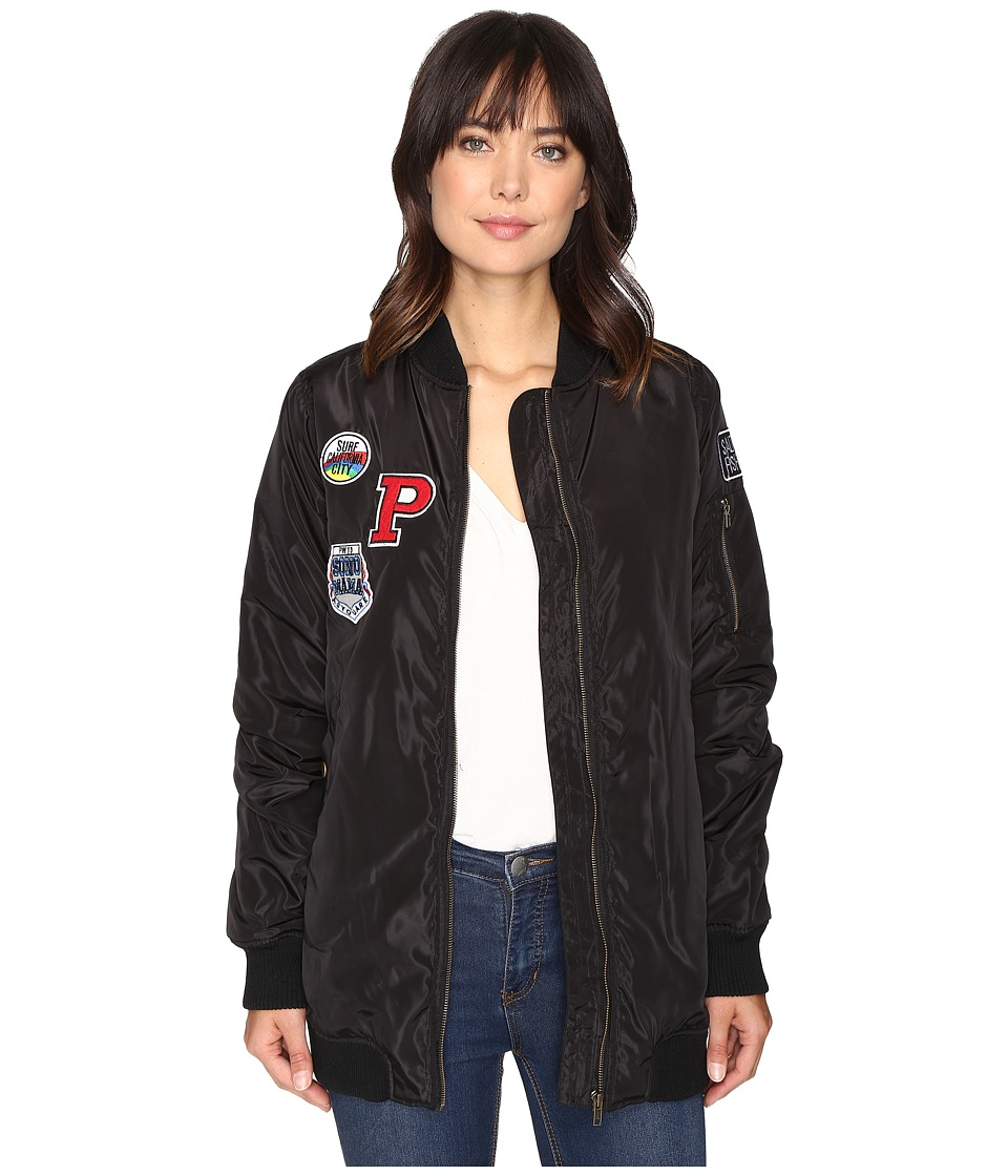 Brigitte Bailey - Monica Extra Long Bomber with Patches (Black) Women's Coat