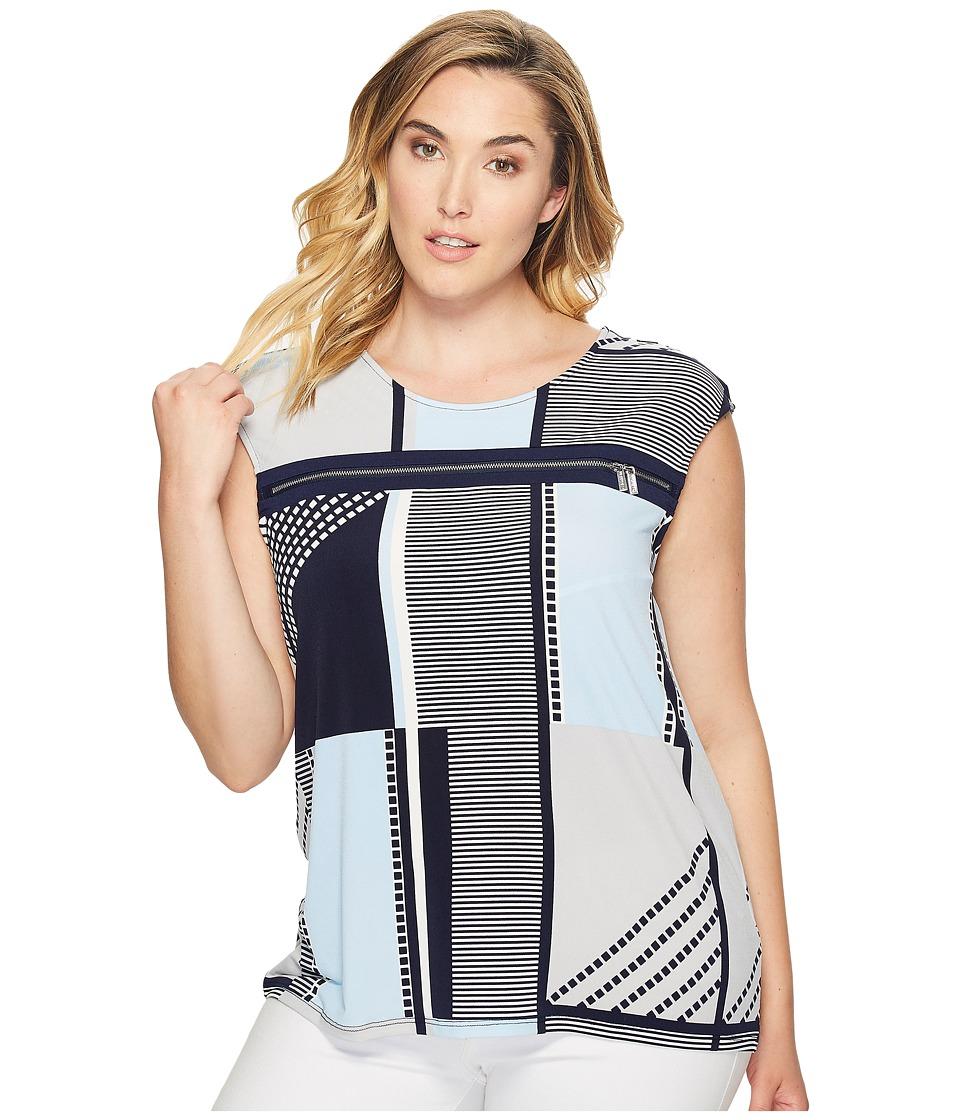 Calvin Klein Plus - Plus Size All Over Printed Zipper Top (Twlight Multi) Women's Sleeveless