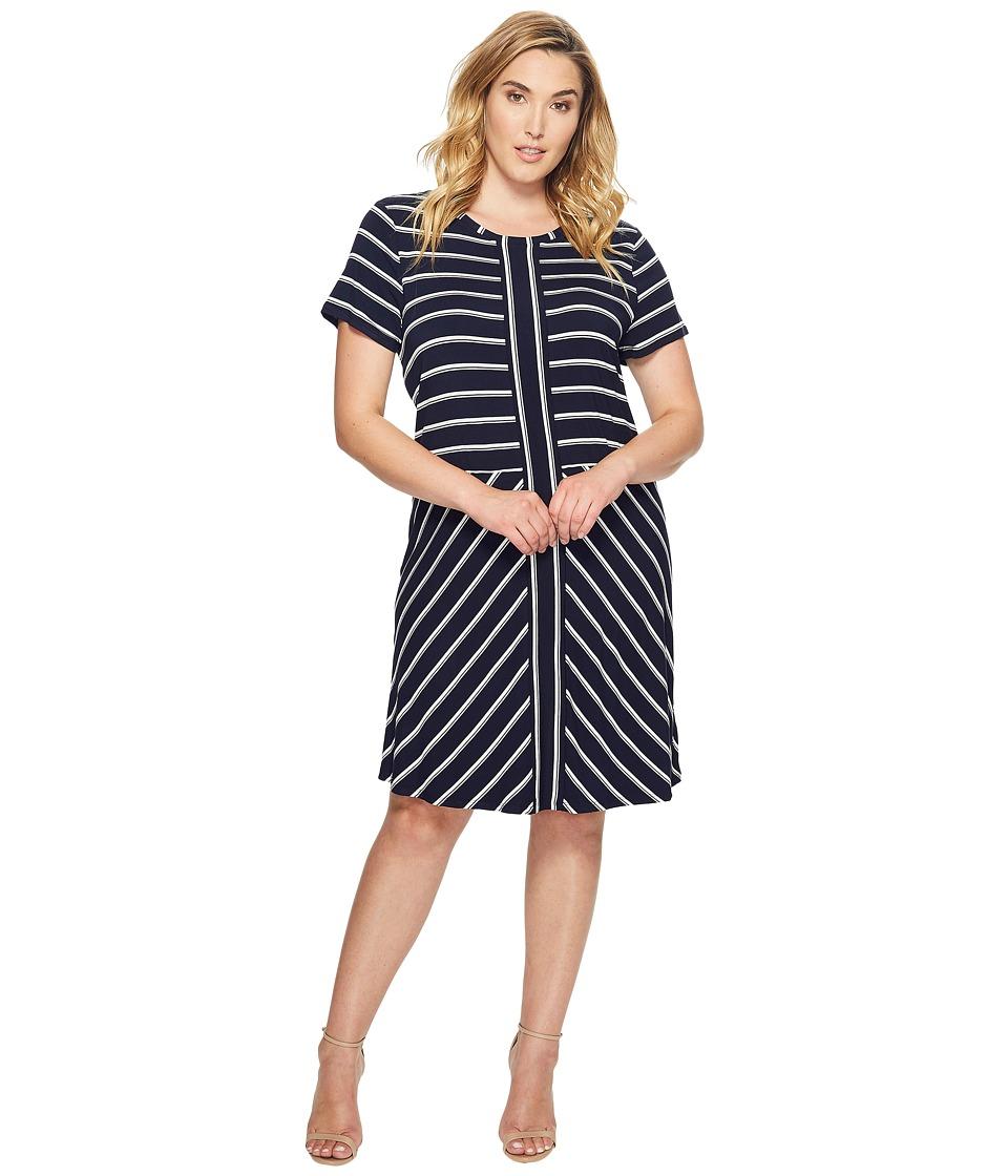 Calvin Klein Plus - Plus Size Short Sleeve Striped T-Shirt Dress (Twilight/Soft White Combo) Women's Dress