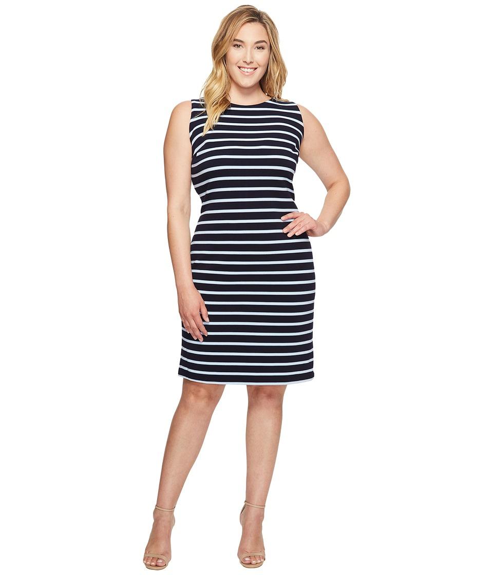 Calvin Klein Plus - Plus Size Sleeveless Textured Stripe Dress (Navy/Iceburg/White) Women's Dress