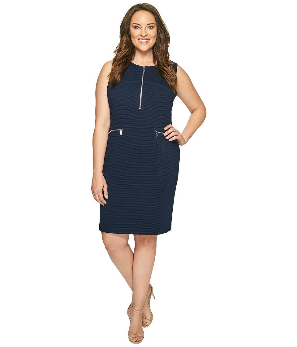 Calvin Klein Plus - Plus Size Sleeveless Textured Dress with Zippers (Twilight) Women's Dress