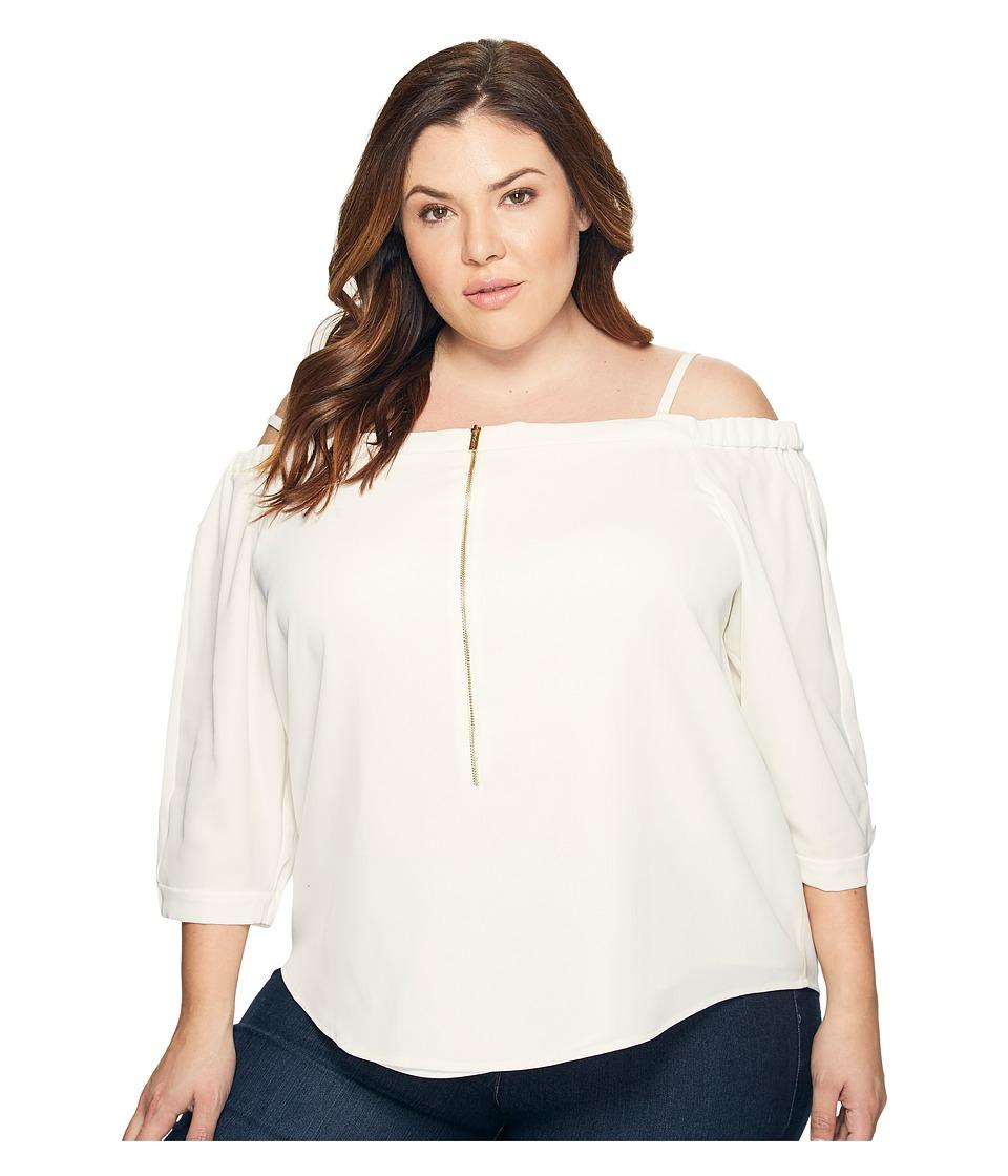 Calvin Klein Plus - Plus Size Off the Shoulder Top with Zipper (Soft White) Women's Blouse