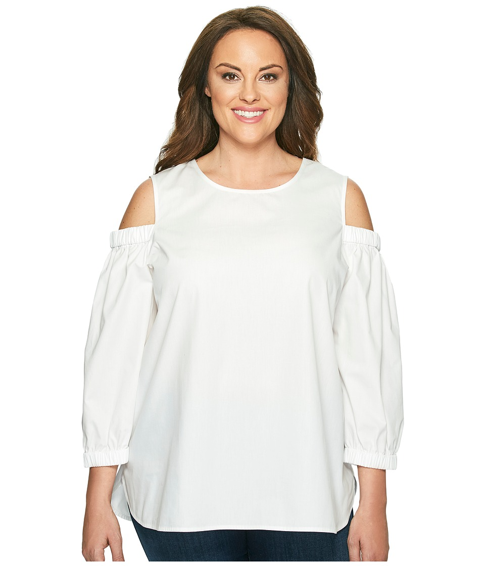 Calvin Klein Plus - Plus Size 3/4 Sleeve Cold Shoulder Top (Soft White) Women's Blouse