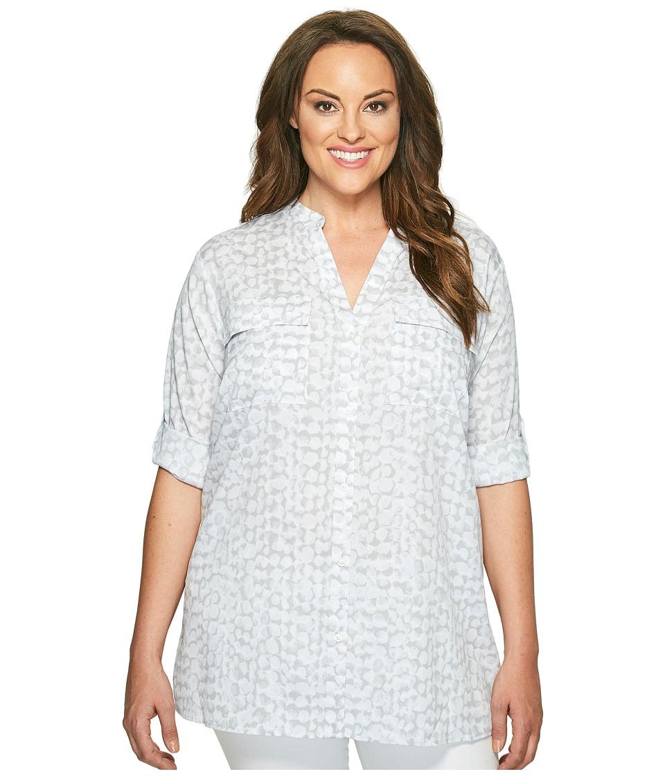 Calvin Klein Plus - Plus Size Printed Roll Sleeve (Dove Multi) Women's Blouse