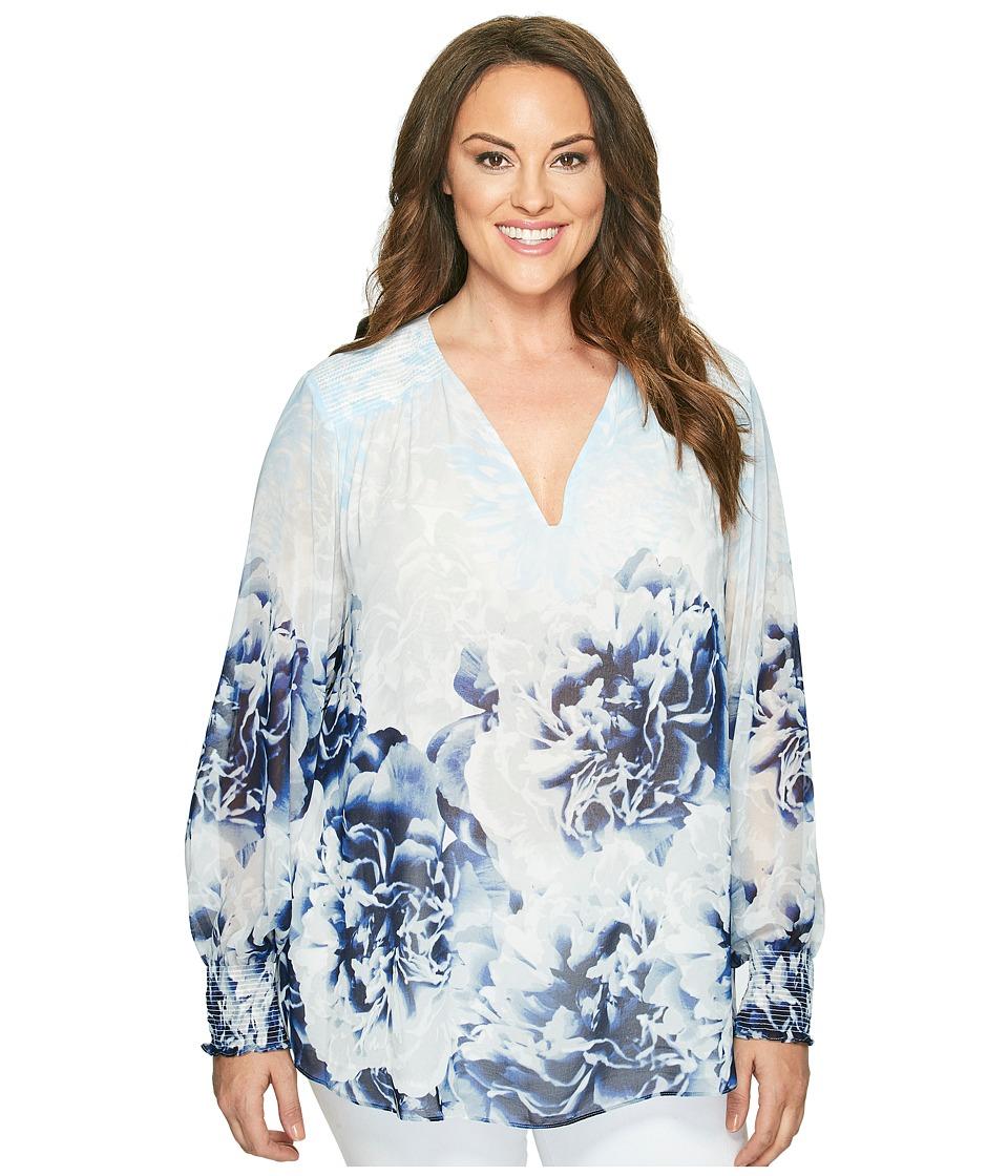 Calvin Klein Plus - Plus Size Long Sleeve Printed Peasant Blouse (Twilight/Light Grey) Women's Blouse