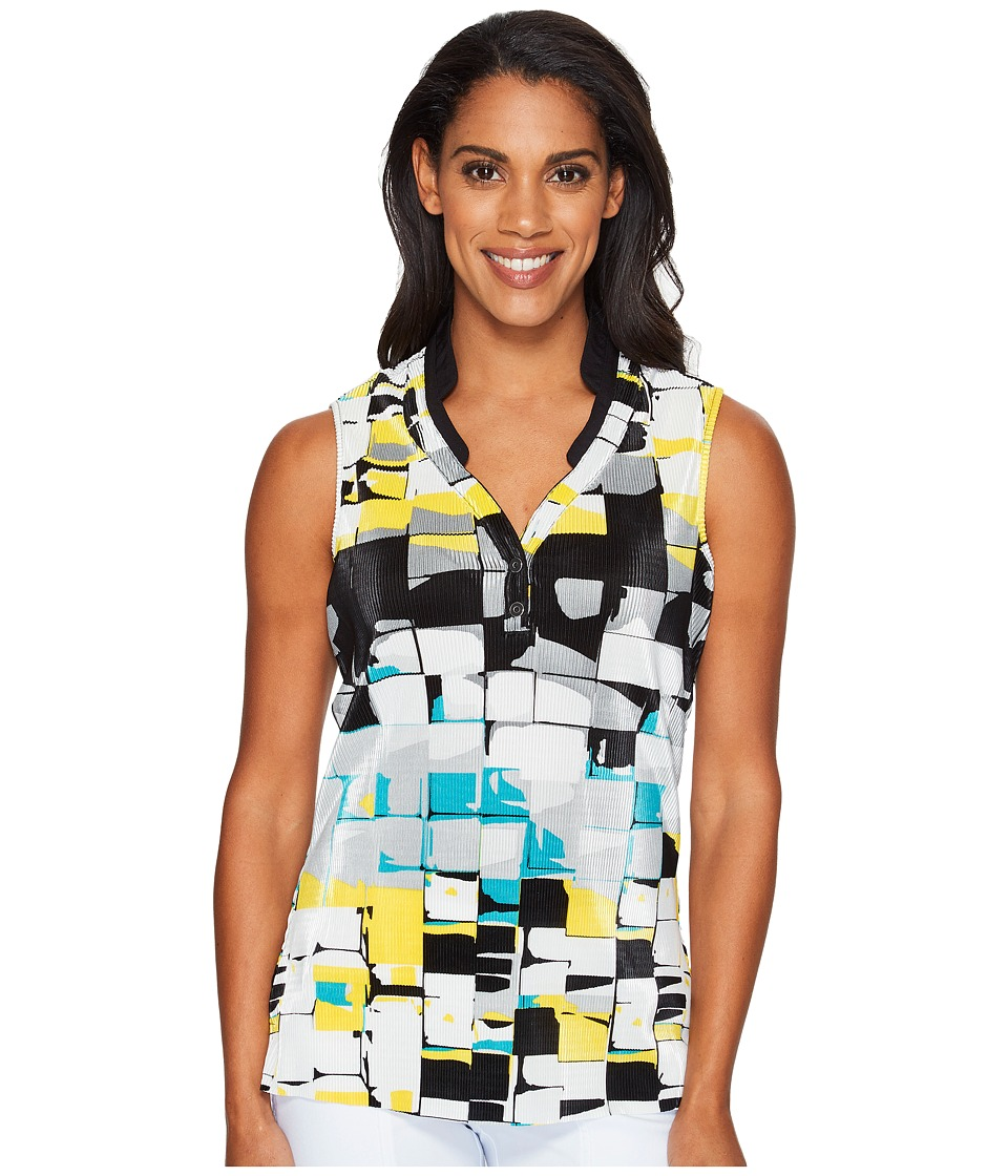 Jamie Sadock - Digi Box Print Sleeveless Top (Jet Black) Women's Sleeveless