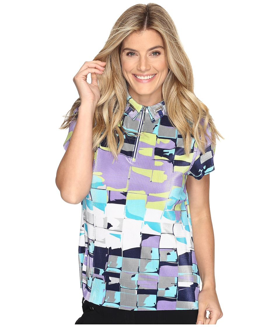 Jamie Sadock - Digi Box Print Short Sleeve Top (Terra Blues) Women's Clothing