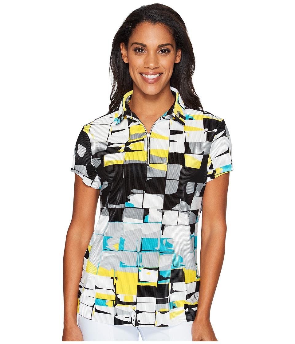 Jamie Sadock - Digi Box Print Short Sleeve Top (Jet) Women's Clothing
