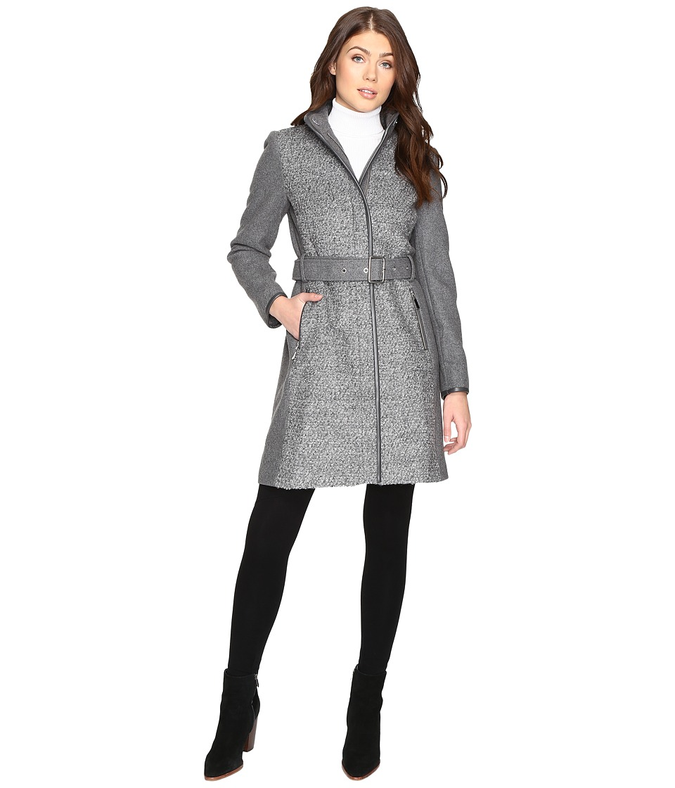 Vince Camuto - Belted Mixed Media Wool Jacket L1151 (Mid Grey) Women's Coat